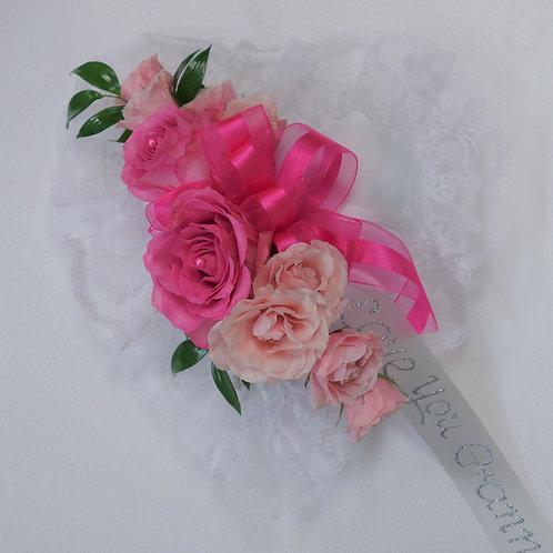 Satin Heart Casket Pillow - Pink