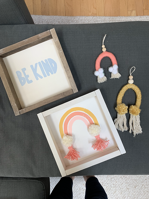 Be Kind - 10x10 Wooden Sign (light blue)
