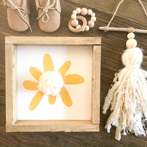 10X10 Yellow Pom Pom Flower Wooden Sign