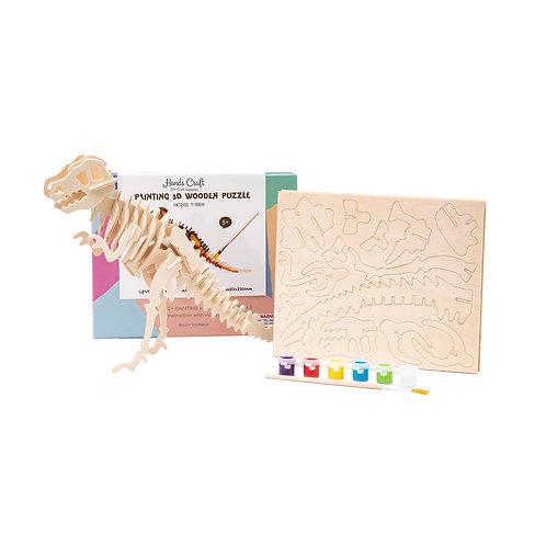Wooden Puzzle Paint Kit : T-Rex