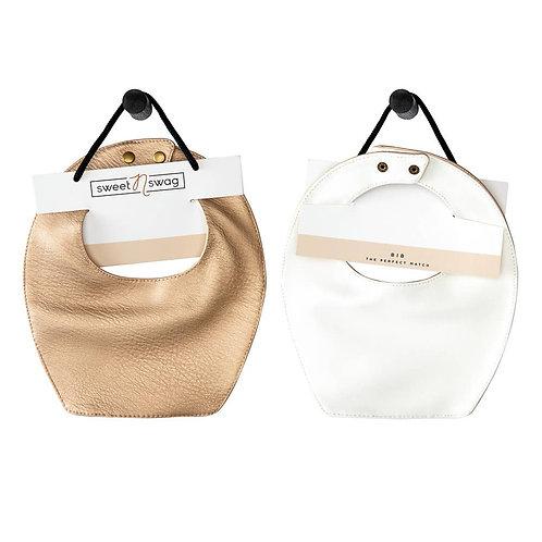 Leather Bib : Copper/White