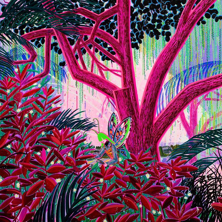숲의 작가, 130.3x130.3xm, acrylic and oil on canvas, 2020.jpg
