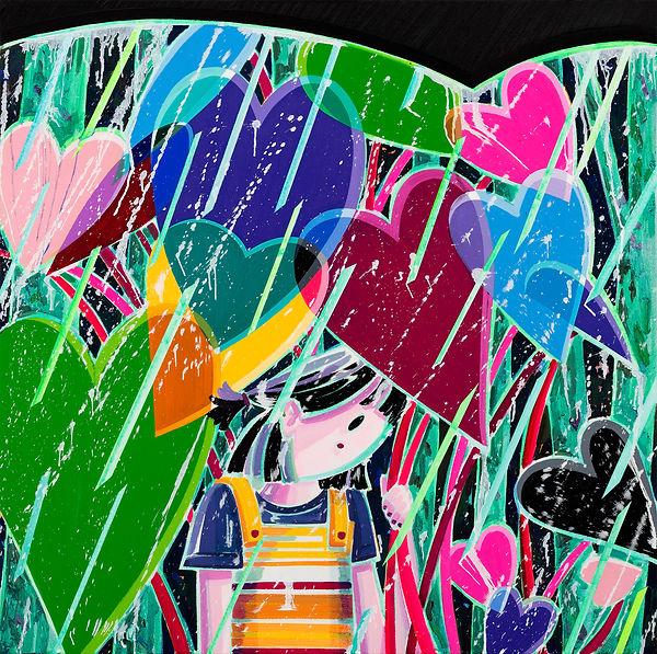 박지혜, 하트 우산 ,acrylic and oil on canvas, 60.6x60.6cm, 2021.jpg