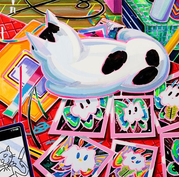 박지혜, 여섯 나방과 티모 ,acrylic and oil on canvas, 60.6x60.6cm, 2021.jpg