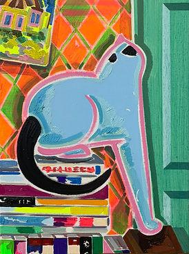 하늘색 고양이, 33.4x24.2cm,oil and acrylic on canvas,2020.jpg