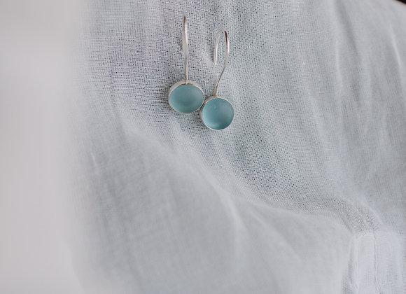 Blue Sea Glass Silver Earrings