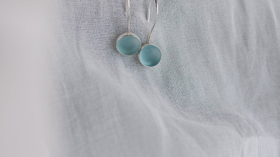 Blue Seaglass Silver Earrings