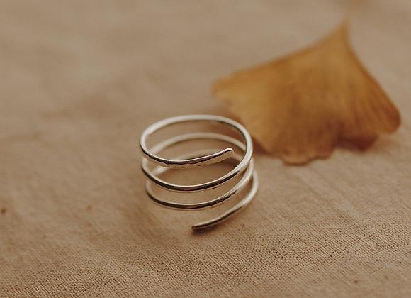 Hammered Silver Adjustable Twist Ring