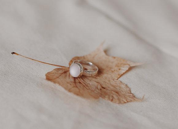 Pink Sea Glass Cabachon Hammered Ring