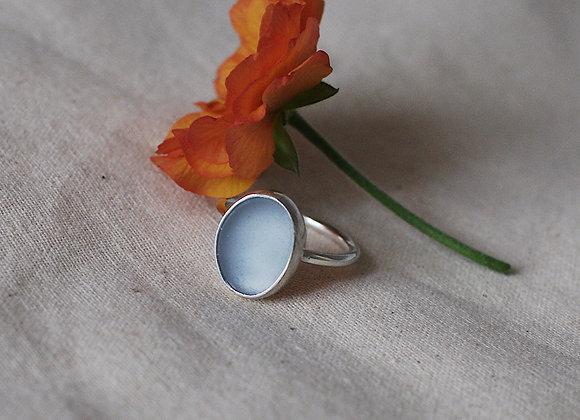 Large Light Blue Sea Glass Ring
