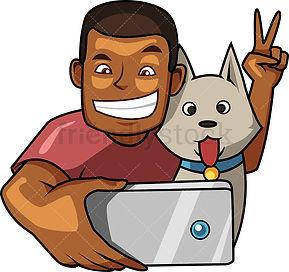 2-black-man-taking-selfie-with-dog-carto