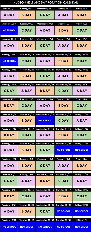 Hudson ABC Day Rotation Calendar - Sheet