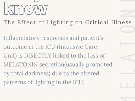 Light and revovery in the ICU/La lumière et la récupération dans l'unité des soins Intensifs.