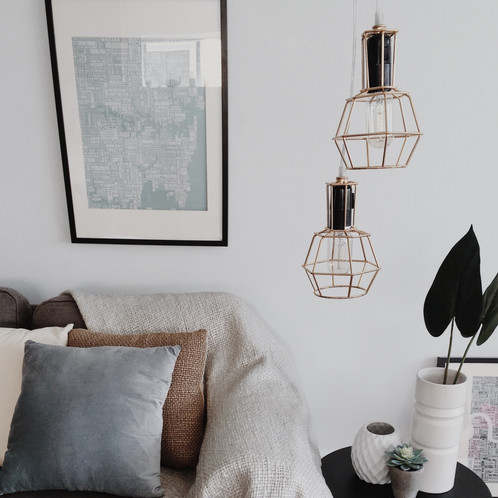 cooper double gold pendant light