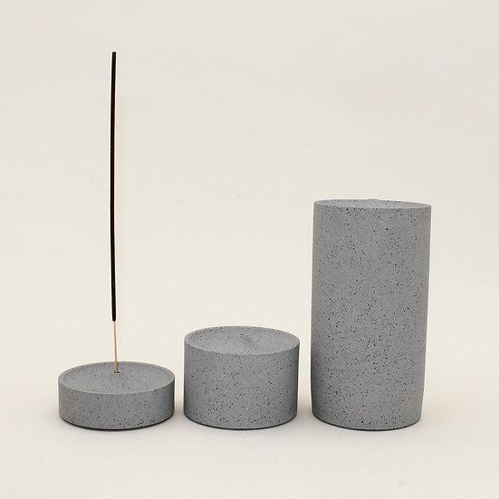 Grey Granite Curve Incense Holder