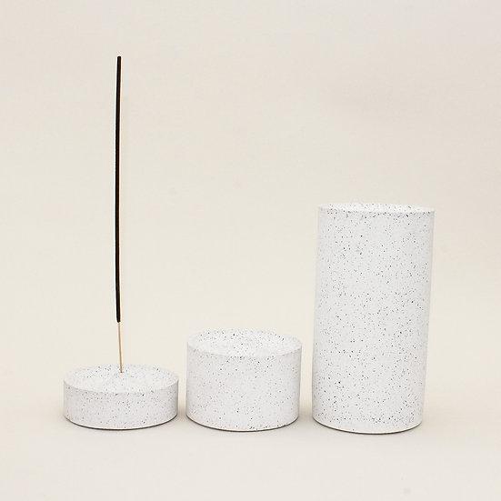 White Granite Curve Incense Holder