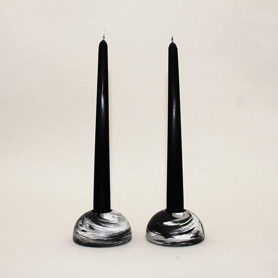 Black Marble Stackable Dome Candlestick Holder