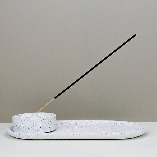 White Granite Curve Incense Holder with Tray