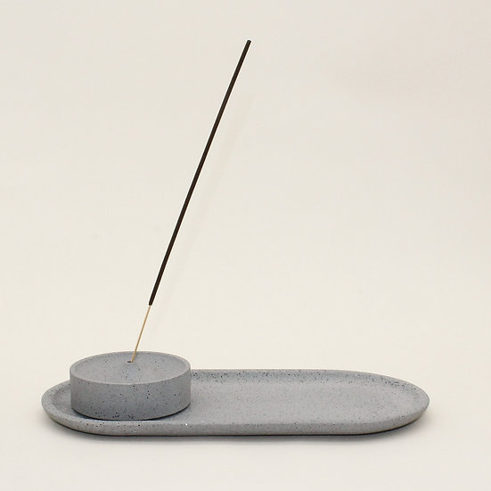 Grey Granite Curve Incense Holder with Tray