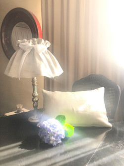 linen light shade with matching cushion