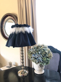 navy and white feather light shade