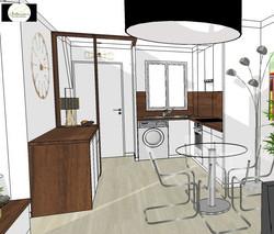 Projet 3D de l'entrée et la cuisine