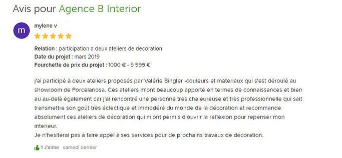 Avis client pour l'Agence B Interior