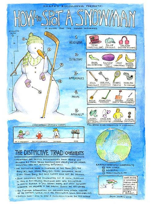 How to Spot a Snowman (13x19 print)