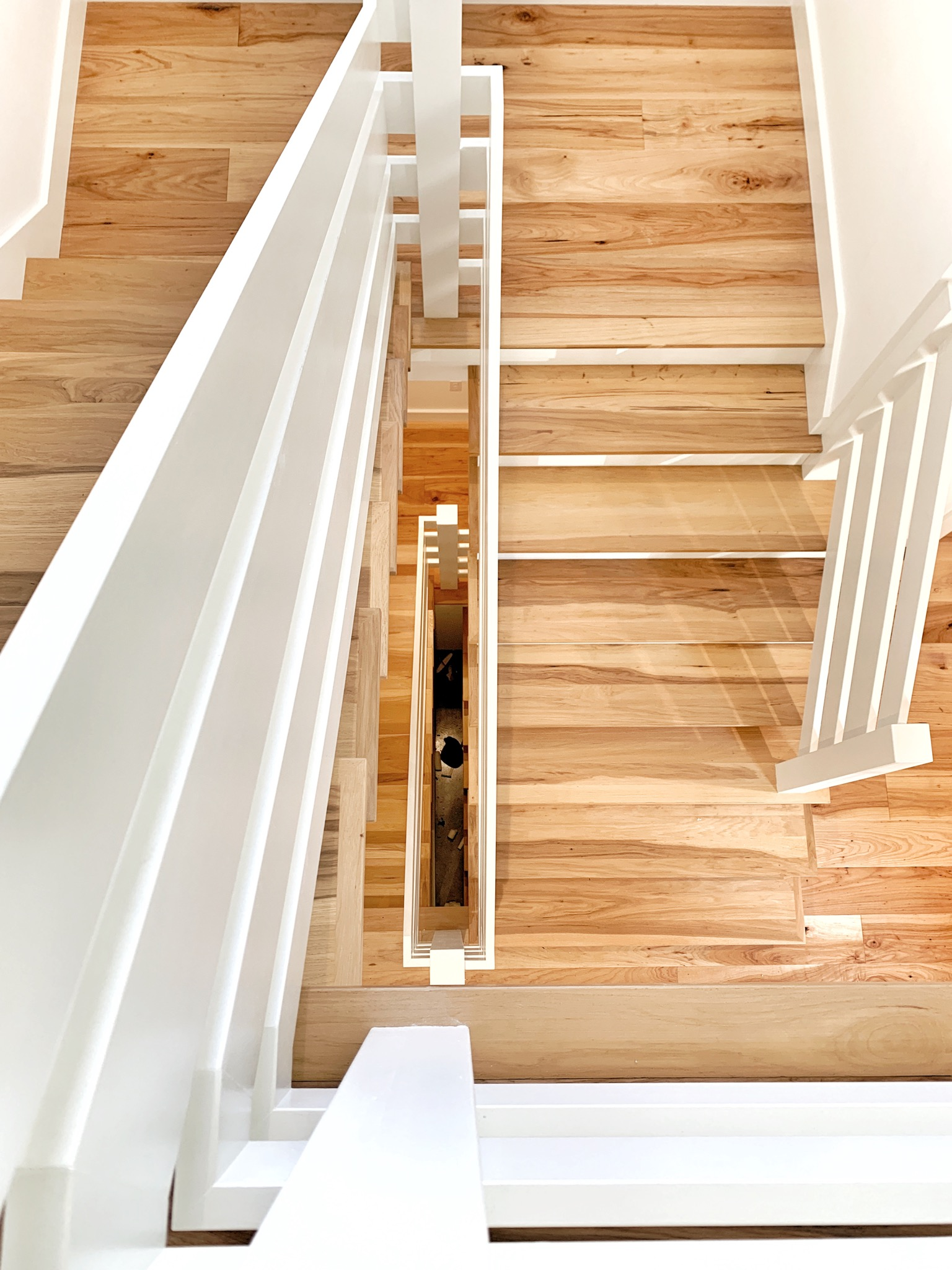 Open Hickory Farmhouse Staircase
