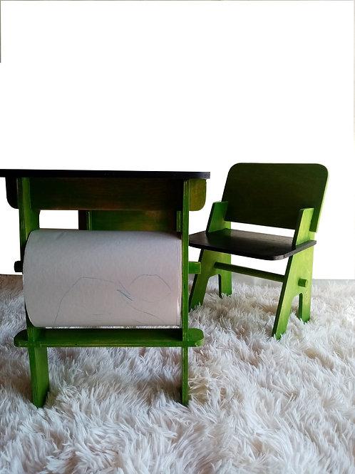Mesa infantil y silla verde Testa