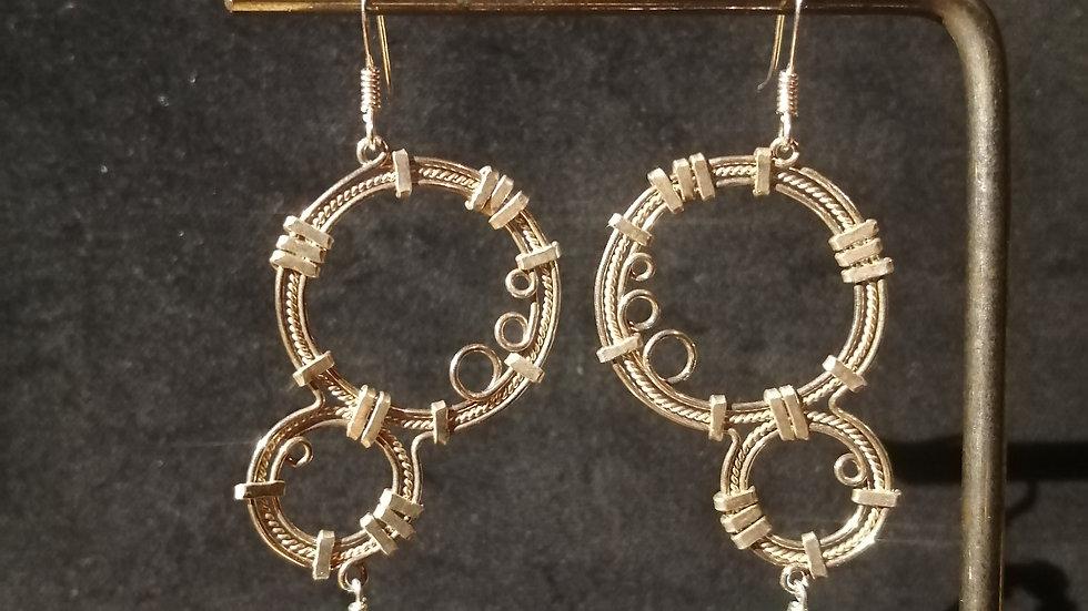 Boucles d'oreilles en malachite et argent