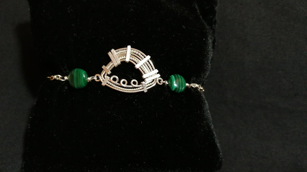 Bracelet argent 925 et malachite