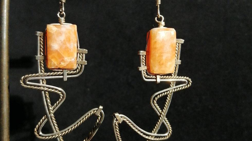 Boucles d'oreilles en calcite orange et argent