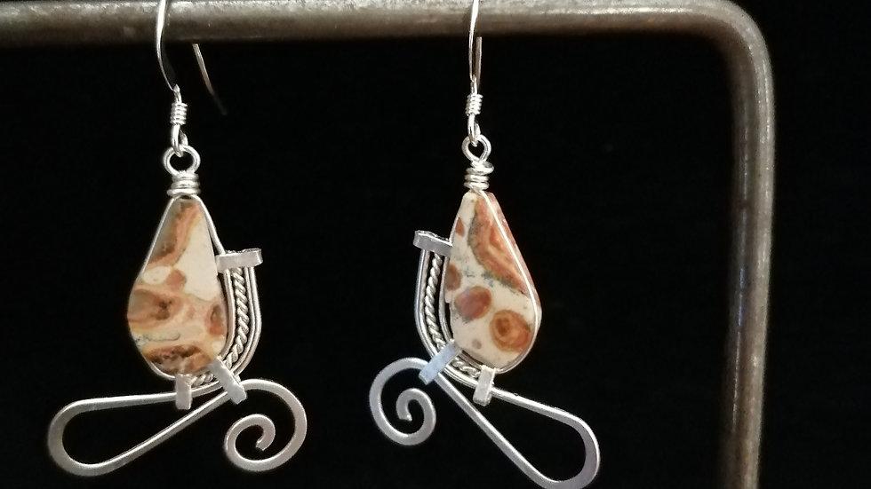 Boucles d'oreilles en jaspe léopard et argent 925