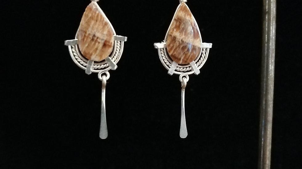Boucles d'oreilles en aragonite et argent 925