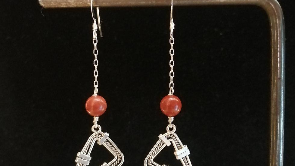 Boucles d'oreilles en jaspe rouge et argent 925