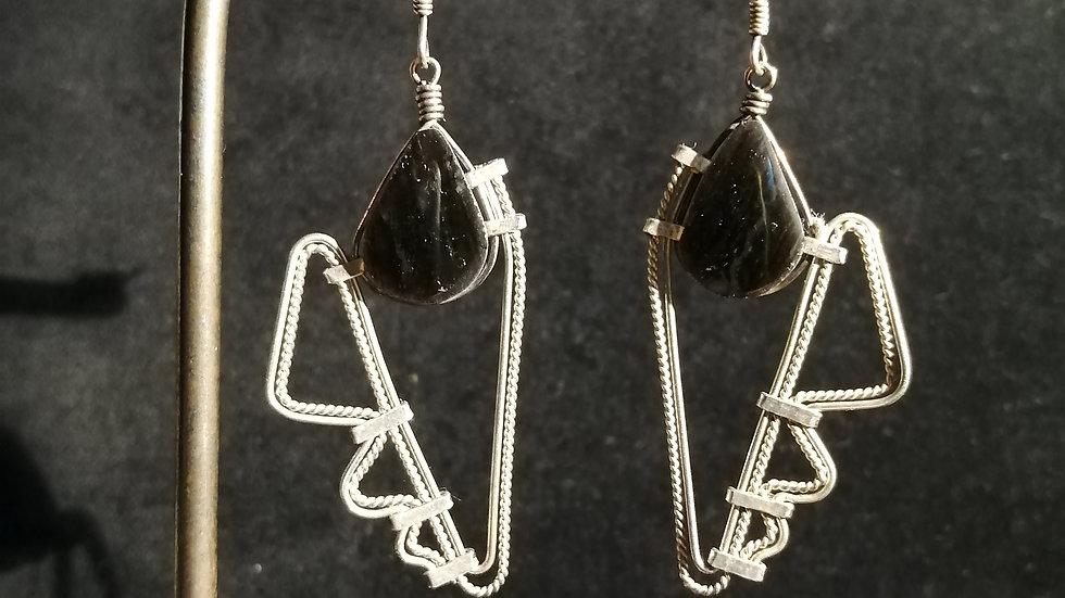 Boucles d'oreilles en obsidienne noire et argent