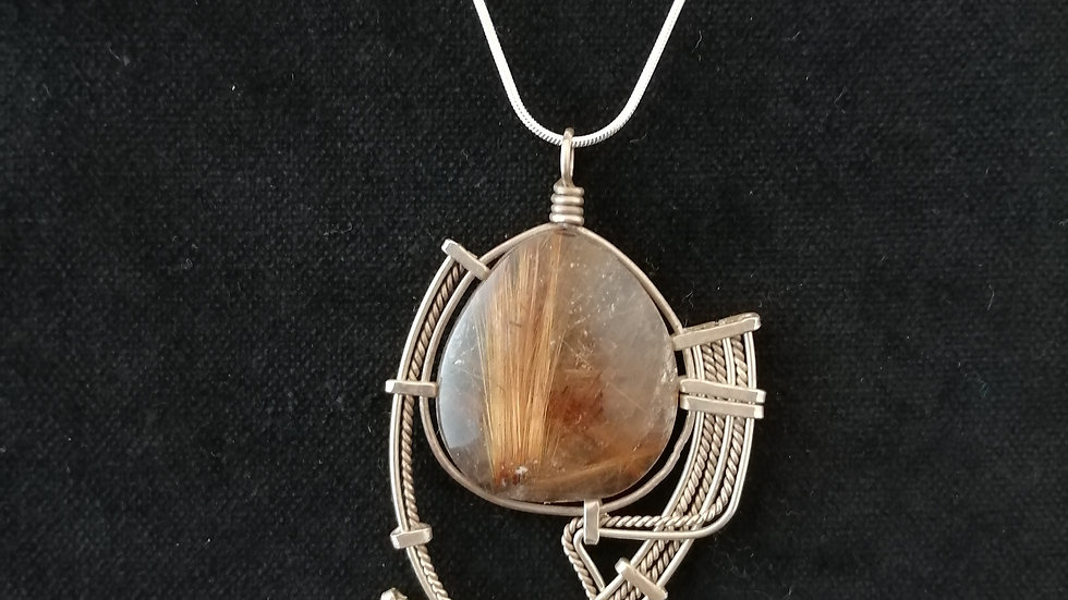 quartz rutile et argent 925