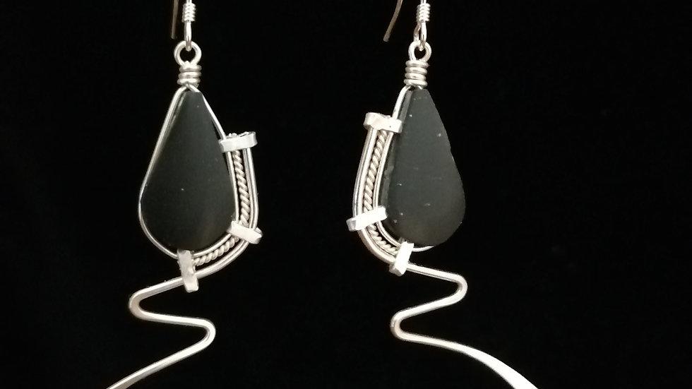 Boucles d'oreilles en onyx noir et argent 925