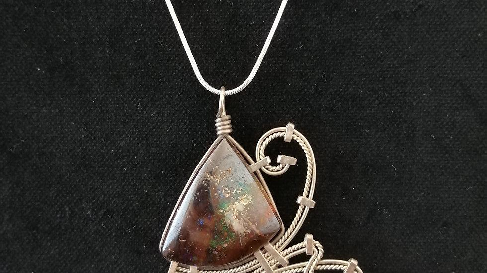 opale boulder et argent 925