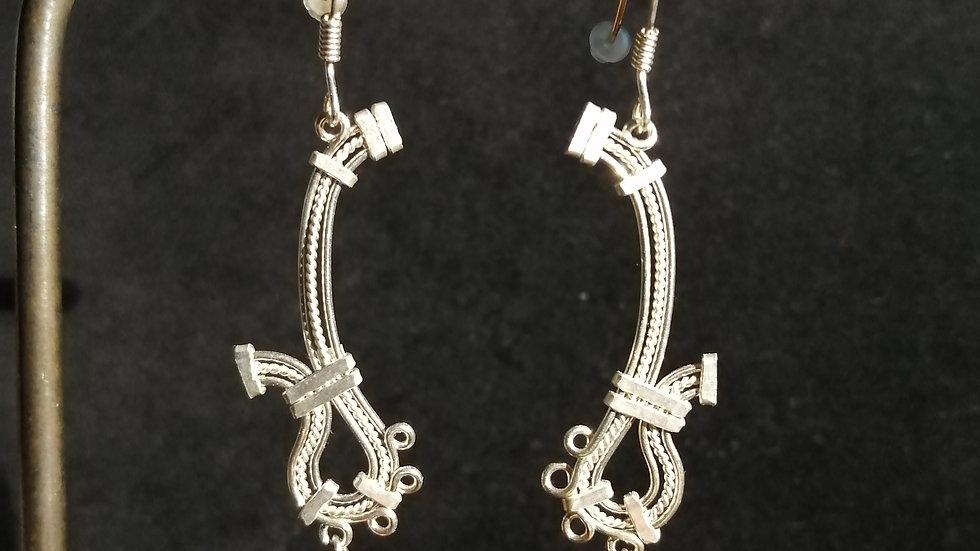 Boucles d'oreilles en jaspe rouge et argent