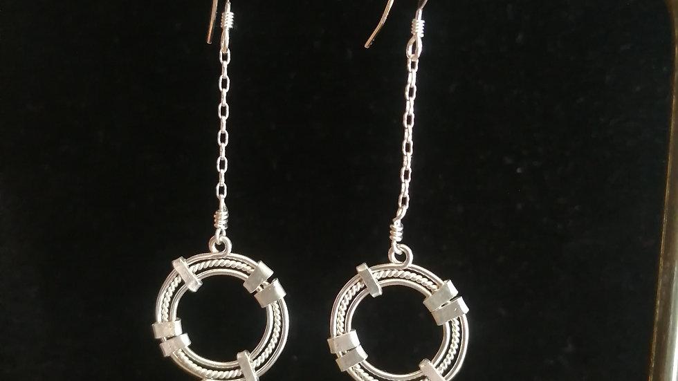 Boucles d'oreilles en serpentine et argent 925