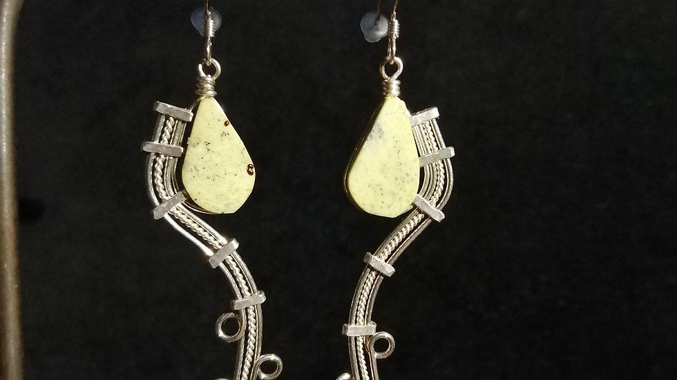Boucles d'oreilles en serpentine et argent