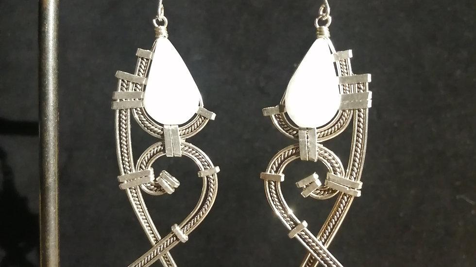 Boucles d'oreilles en marbre et argent