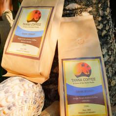 Coffee grounds or beans dark roast