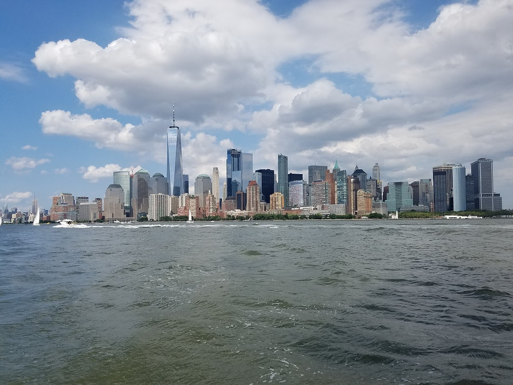 Lower Manhattan from the water on a beautiful day