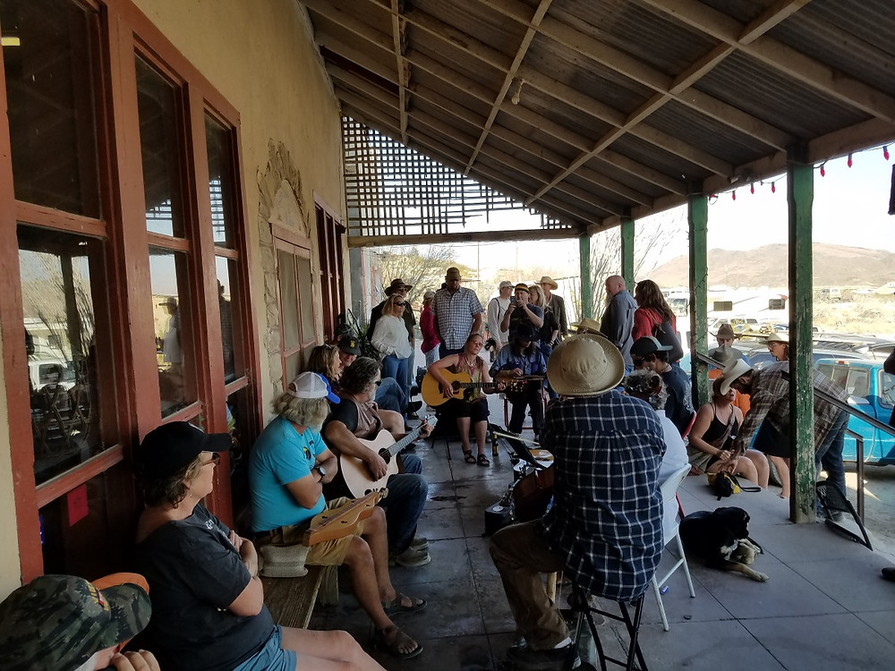 Jamming on the front porch of the Terlingua Trading Company