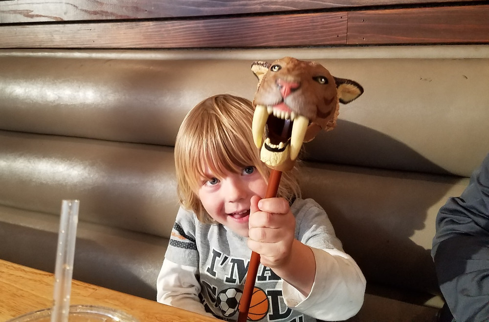 """""""Rawr-don"""" is what we got trying to teach C to say Smilodon Fatalis"""