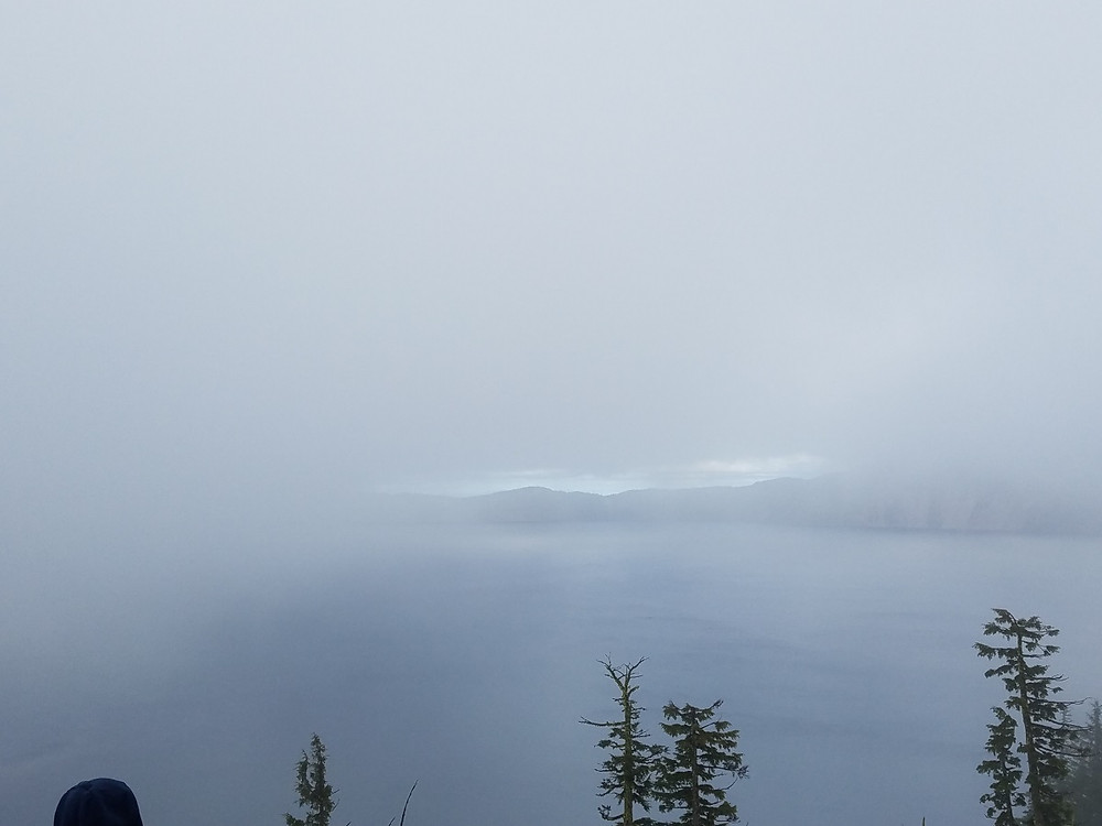 Crater Lake through the mist