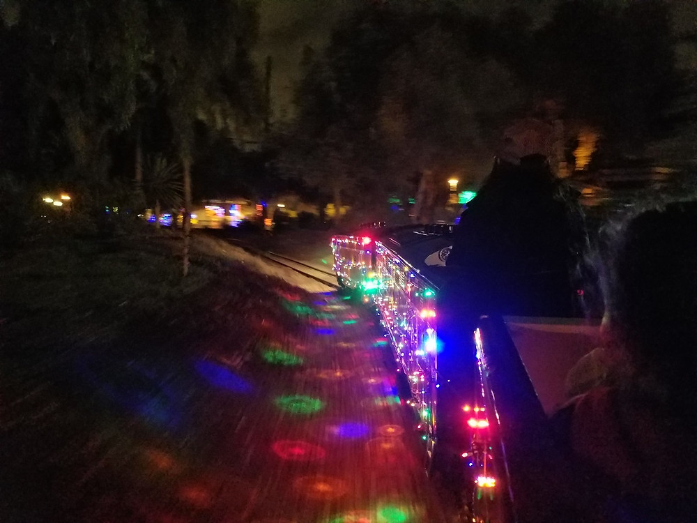 The Balboa Park Train done up for the Holidays